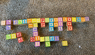 """ABC Wooden Building Blocks   Large (1 ¾"""" ) Jumbo Size -also letters, pictures K1"""