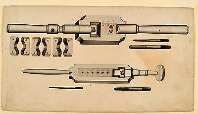 Schraubenherstellung Gewindeschneider altes Schreinerwerkzeug Orig Aquarel 1830