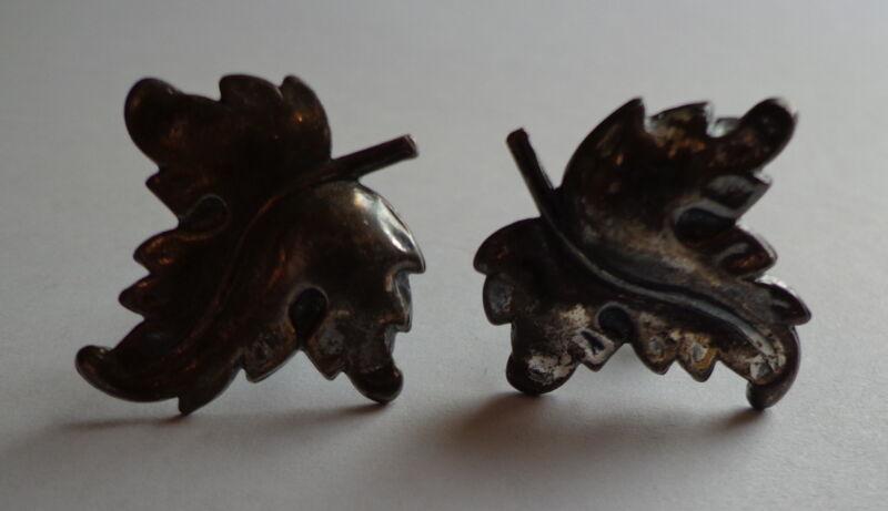 VINTAGE Signed Screwback EARRINGS Silver MEXICO Leaf design
