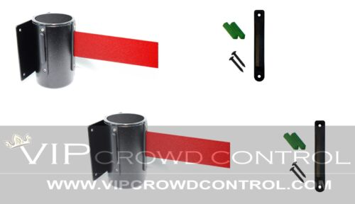 """WALL MOUNT STANCHIONS, 2 PCS PACKAGE AISLEWAY 156"""" RED BELT, VIP CROWD CONTROL"""