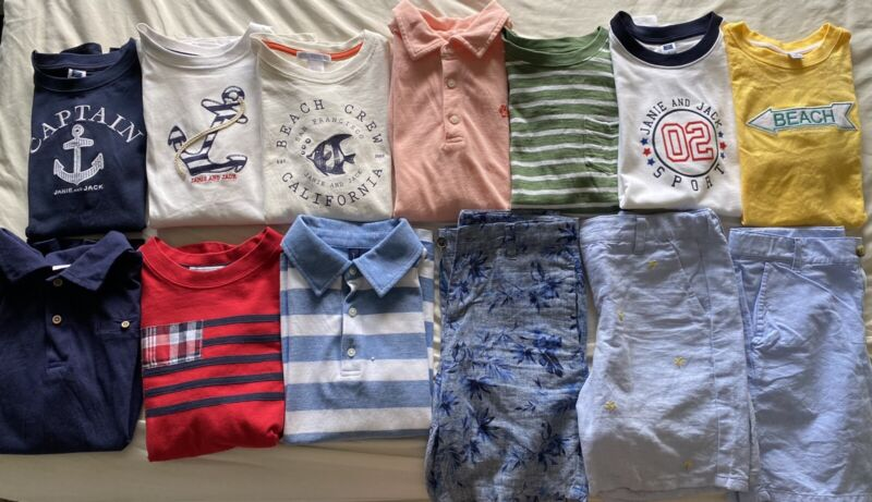 Huge LOT Janie and Jack Short Sleeve Polo Shirts Tops Tees Shorts Size 8