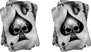 2 x Ace of Skull Vinyl Graphic, Sticker, Decal, Custom, Bike, Car ,Tuning