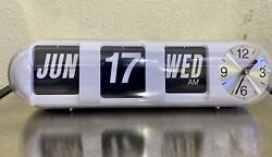 Karlsson Retro Modern Flip Clock Desk/Wall Automatic Perpetual Calendar Day Date