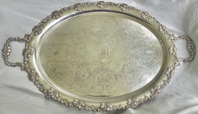 "Antique English Barker Ellis Silver Plate 29"" Handled Footed Oval Serving Tray"