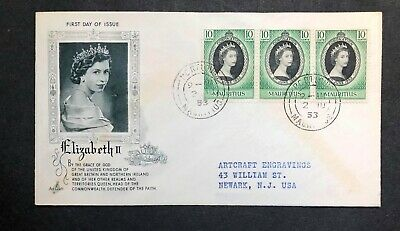 Mauritius 1953 Coronation FDC First Day cover