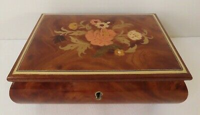 Vintage Inlaid Lacquered Wood Jewelry Music Box Made in Italy Isle Of Capri