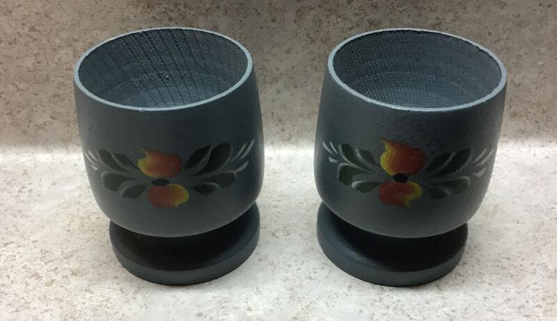 VINTAGE NORWEGIAN Wooden ROSEMALING EGG CUP Or Shot Glasses Pair handmade