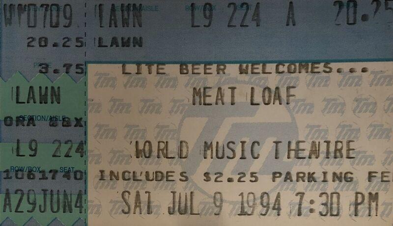 Meat Loaf Genuine Used Concert Ticket Stub
