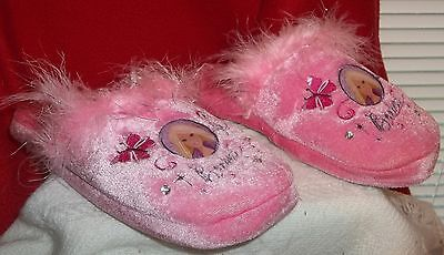 z- SHOES YOUTH SZ 2-3 GIRLS 2007 BARBIE PINK INDOOR HOUSE SLIPPERS GREAT SHAPE!