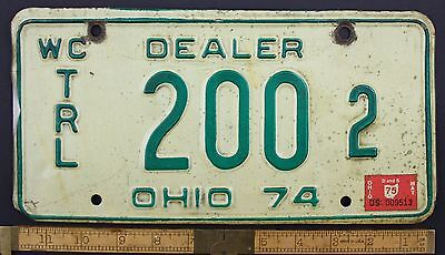 1974 Vintage Original OHIO License Plate 200 2 WATERCRAFT TRAILER DEALER