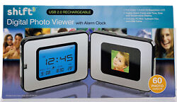 Shift 3 Digital Photo Viewer with Alarm Clock - USB 2.0 Rechargeable NEW
