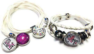 Cancer Sucks Breast Awareness Hope For Cure White Bracelet Necklace Set W/4 18MM - Cancer Sucks Bracelets