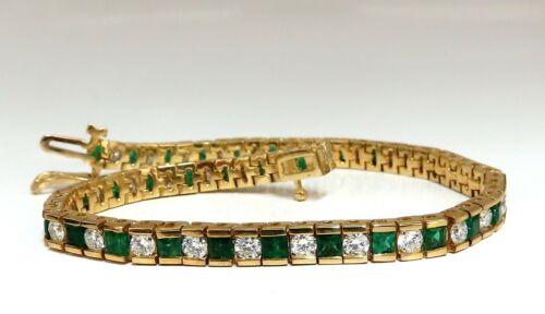 5.42ct Green Natural Emerald Diamonds Tennis Bracelet 14 Karat