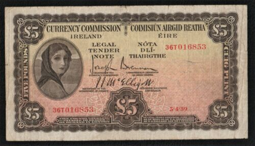 CURRENCY COMMISSION OF IRELAND  1939  £5  LADY  LAVERY   BANKNOTE