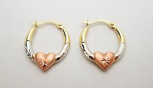 10k Tri Color Gold Women's Ladies Hoop With Heart Earrings