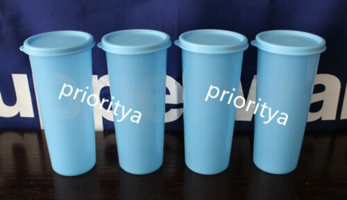 Tupperware Straight 470ml / 16oz Stacking Tumbler Set of 4 Blue New in Package