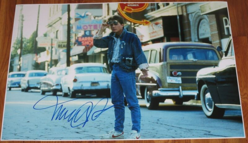 MICHAEL J FOX BACK TO THE FUTURE SIGNED 20X30 PHOTO AUTHENTIC AUTOGRAPH PROOF
