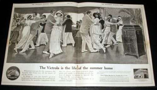 1915 OLD MAGAZINE PRINT AD, VICTOR VICTROLA PHONOGRAPHS, LIFE OF SUMMER HOMES!