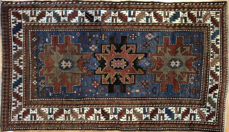 Lavish Lesghi - 1890s Antique Star Kazak Rug - Caucasian Carpet - 4.1 X 7.10 Ft