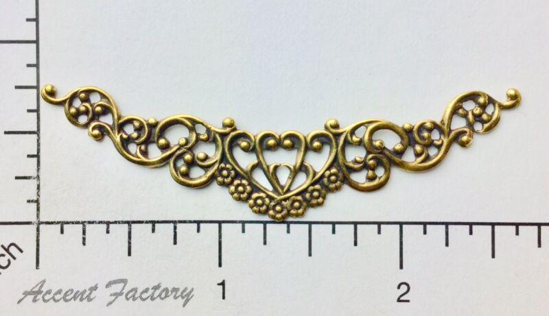 13223           Brass Oxidized Victorian Swag Filigree Jewelry Finding