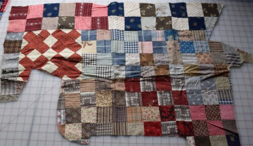 5696 Fragment of 4 Patch quilt top, 1870-90