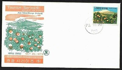 Korea, Two Stamps of Tourism Series (5) Cachet FDC First Day Covers, Nature 1973