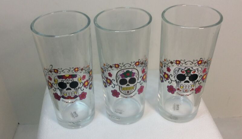 TMD Sugar Skulls Collins Glass Barware Set Halloween Dios Los Muertos Colorful.