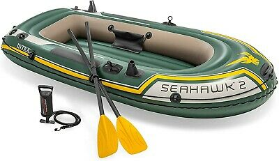 Inflatable Boat with Oars Pump Intex Seahawk 2 Person Set Dinghy Boats