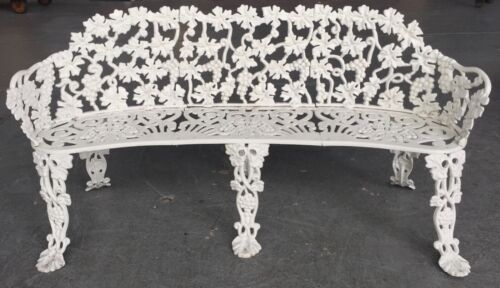 White Vintage Cast Iron Garden Bench