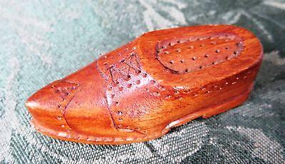 Wooden Match Safe Holder w Striker & Matches Carved Miniature Man's Shoe Vintage