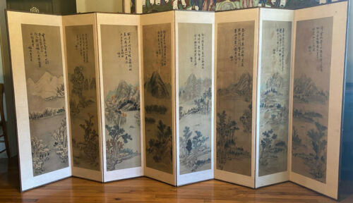 Antique 8 Panel Korean Silk Linen Four Seasons Landscape Scroll Painting Screen
