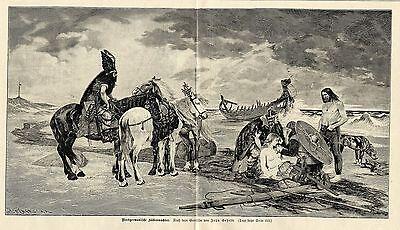 Johs.Gehrts ( Nordgermanische Küstenwächter ) Holzstich Graphik von 1899