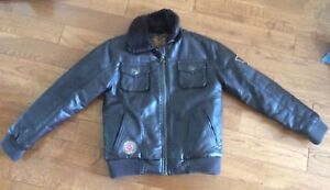 Boys Faux Brown Leather Jacket