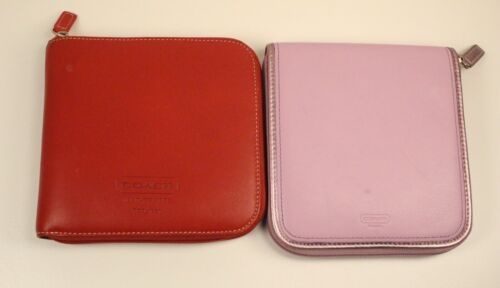 2 Coach Leather CD DVD Holders Red & Blue