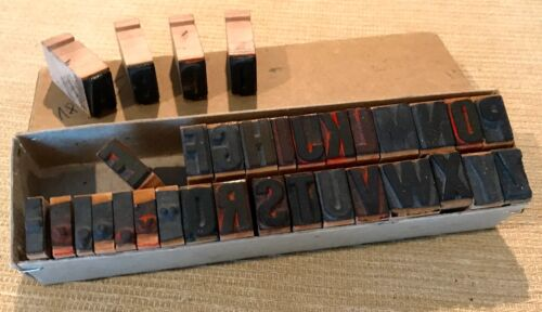 RARE A-Z alphabet letterpress wooden printing blocks wood type vintage printer
