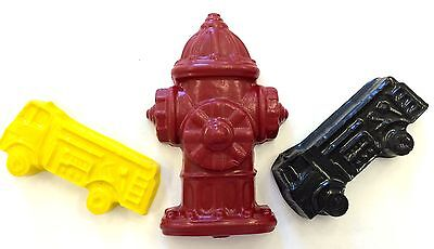 10 sets of 3 FIRE TRUCK ENGINE HYDRANT Transportation Crayon Party Favor