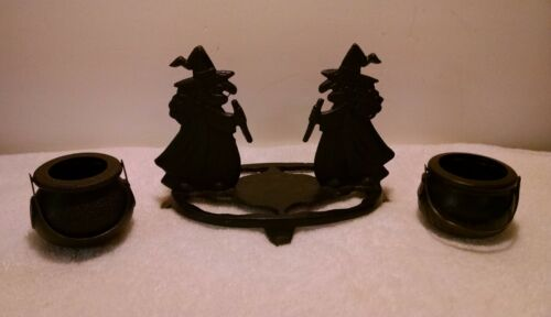 Halloween Cast Iron Witch Witches Brew Brewing Cauldrons Candle Holder Incense N