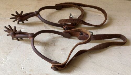 Antique North & Judd COWBOY SPURS 10 Pt. Rowels Late 1800s Anchor marked