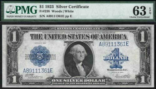 Fr. #238 $1 1923 Silver Certificate PMG 63 EPQ Choice Uncirculated