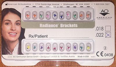 Radiance American Orthodontics Clear Orthodontic Bracket Set .022mbt 5x5 Hks 345