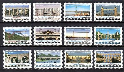 FRANCE- FRENCH - 2017 - BRIDGES AND VIADUCTS- FU - FULL SET OF 12 STAMPS