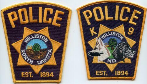 WILLISTON NORTH DAKOTA ND POLICE & K-9 2 police patches K-9 POLICE PATCH