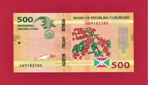 BURUNDI UNC BANKNOTE: 500 Francs 2015 (P-50a) Signatures J.G Ciza & A.L. Kanyana