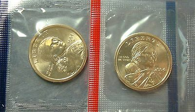 2004-PD BOTH UNCIRCULATED SACAGAWEA GOLDEN DOLLARS SHIPS IN SEALED CELLOPANE