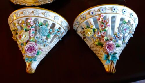 Antique pair French Sevres Style floral Porcelain SCONCE gorgeous excellent