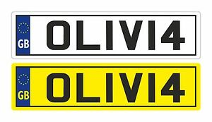 4 X KIDS PERSONALISED NUMBER PLATES TOY CHILDREN RIDE ON SELF ADHESIVE STICKER