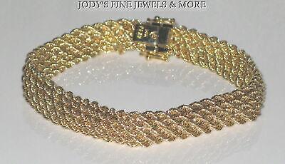 SENSATIONAL ESTATE 14K YELLOW GOLD DIAMOND CUT MESH CHAIN BRACELET 7.75