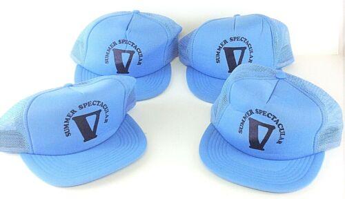 "Lot of 4 Vintage San Sun Light Blue ""Summer Spectacular"" Snapback Hats Caps"