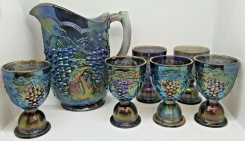 Imperial Grape Carnival Glass Pitcher & 6 egg cup juice glasses Smoke/Peacock