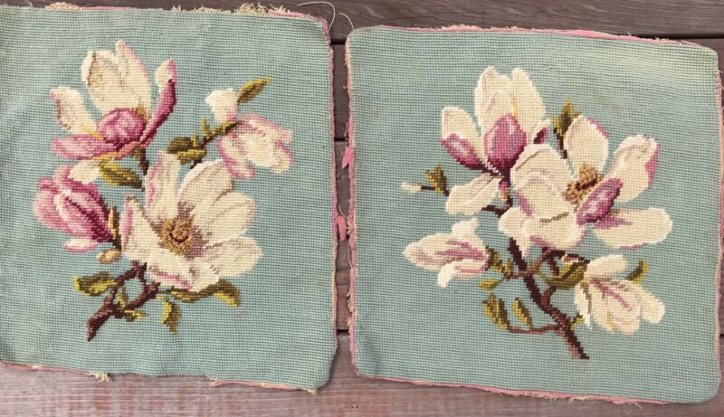 2 Vintage Finished Needlepointed Magnolias Teal Background for Pillows Cushions